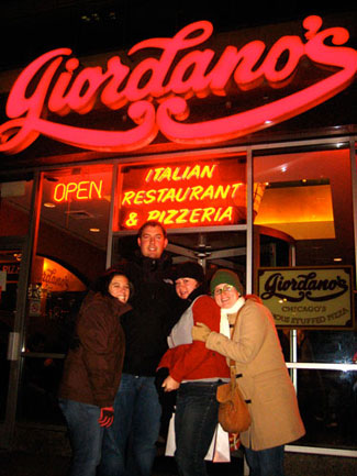 Steph, Adam, Lisa, and Apryl in front of Giordano's